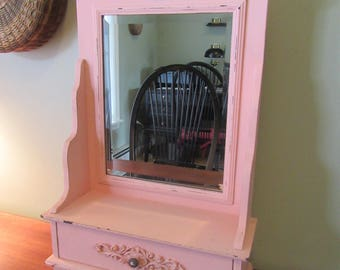 Nice dresser top framed beveled mirror with drawer- painted pink and distressed- solid, weighty beautiful, rustic