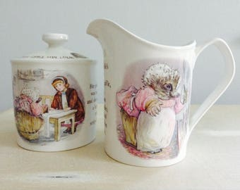 Wedgewood Beatrix Potter Mrs. Twiggy Winkle Cream and Sugar