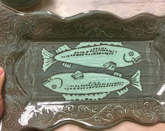 Fish Tray, Pisces, turqoise brown and black