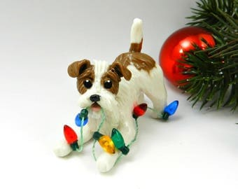 Parson Russell Terrier Christmas Ornament Figurine Lights Porcelain