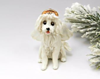 Angel MaltiPoo White Christmas Ornament Figurine Porcelain