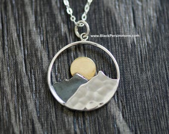 Mountain Range with Bronze Sun Necklace - Solid 925 Sterling Silver & Bronze Charm Pendant - Insurance Included