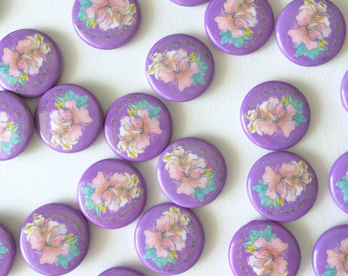 Tropical Hibiscus Flower Round Pin-Back Buttons