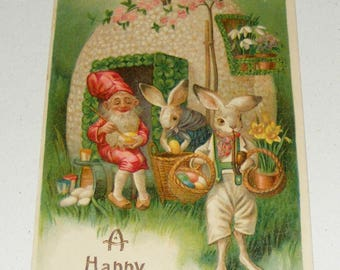 Antique German Postcard Easter Gnome Anthropomorphic Bunny Rabbit Egg House Not mailed or signed