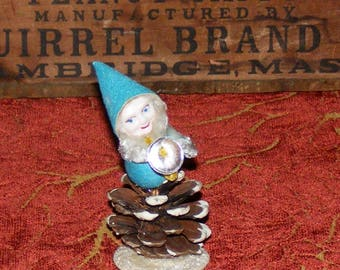 Vintage Aqua or Teal Spun Cotton Pine cone Gnome or Pixie Elf with Chenille Trim