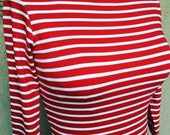 Vintage style sailor boatneck 3/4 sleeve tee in Red and White stripe American made rayon jersey XS or XL