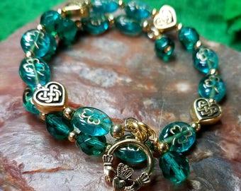 Beautiful Teal Irish Shamrock CELTIC Heart, Claddagh Bracelet