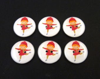 "6 Skater Buttons. Figure Skater or Skating Themed Sewing Buttons.  3/4"" or 20 mm round."