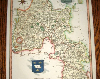 Antique (1820) Map of Oxfordshire England