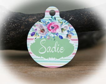 Pet Name Tag, Pet ID tag dog, Dog Tag for Dogs, Stripe pet name tag, Rustic dog name tag,-Sadie