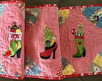 Quilted CHRISTMAS Table Runner . . . Christmas in July . . . You are All About the Shoes . . . Vintage Fabric Table Decor
