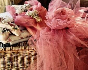 Shabby Chic Vintage Lovely Raspberry Tulle Prom Dress