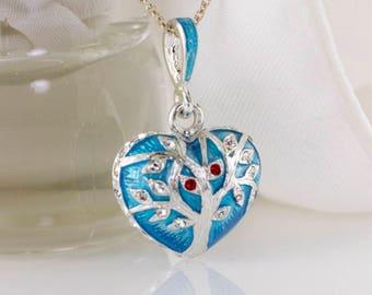 Tree of Life Judaica Jewelry Necklace, Heart w Tree of Life, Jewish Pendant, Large Enameled Heart, Silver Tree of Life on Aqua Blue Enamel