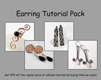 Sale, 15% Off - Earring and Ear Cuff Tutorial Pack - Wire Jewelry Tutorials - Save 30 Percent