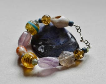Flourite and Trade Bead Boho Bracelet Medium