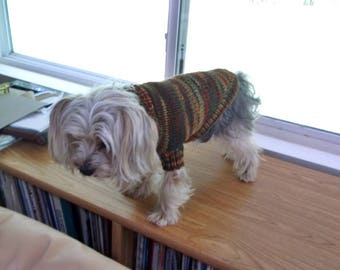 Dog Sweater, Handknit, Custom knit pet pull over sweater, Small Dog