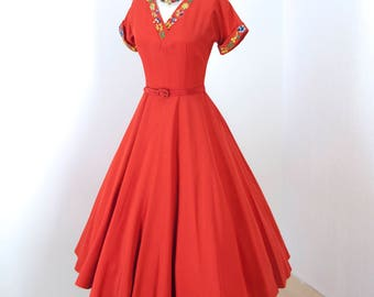 vintage 1950's dress ...fab TEENA PAIGE coral red embroidered faille full skirt pin-up party dress