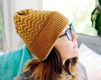 Machine Knit Hat // Zig Zag Fair Isle Pattern // Winter Accessory // Soft and Squishy