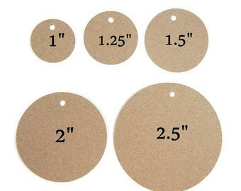 Round Tags, Kraft Tags, Circle Tags - Several Sizes to Choose 1 inch, 1.25 inch, 1.5 inch, 2 inch, 2.5 inch