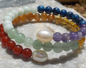 Chakra Mala Bracelet- prayer beads- rosary with Pearl Accents - 54 beads