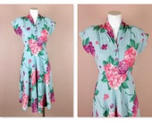Vintage 1940s Cotton Summer Dress, Floral Hydrangea Kimono Sleeves, Small Size, Summer Wedding Ready