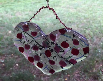 Fused Glass Heart Pendant and Chimes