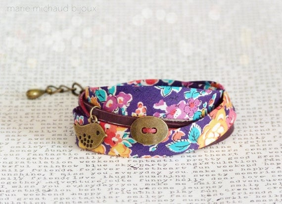 Liberty bracelet,Wrap bracelet,Double wrap bracelet,Textile bracelet,Cuff bracelet,Liberty jewelry,Gift idea,Gift under 30,Original gift