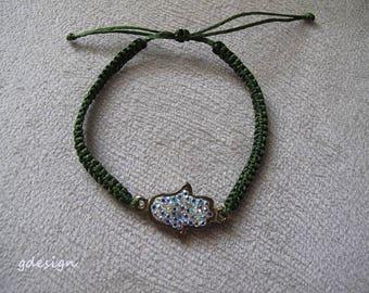 Evil Eye Bracelet, Gold Plated Fatima hand, Kaballah Bracelet, macrame bracelet, Good Luck Bracelet, Charm Bracelet