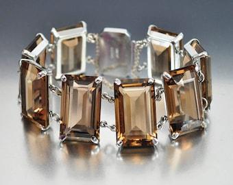 Sterling Silver Smoky Quartz Bracelet, Rock Crystal Bracelet, Japanese Topaz Bracelet, Vintage Bracelet, Quartz Crystal Bracelet Emerald Cut