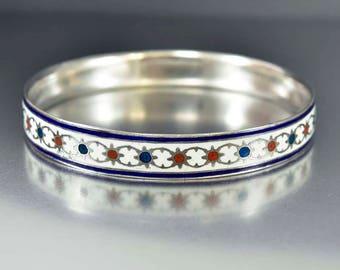 Sale Enamel Silver Armband Bracelet | Art Deco Upper Arm Bracelet | Vintage Armband | Red White Blue Enamel Art Deco Bracelet | Arm Cuff