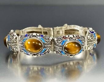 Chinese Enamel Tiger Eye Bracelet | Enamel Flower Silver Filigree Bracelet | Asian Gemstone Enamel Bracelet | Good Luck Talisman