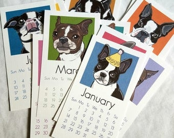2018 Boston Terrier Calendar - Printed on Recycled Linen Paper