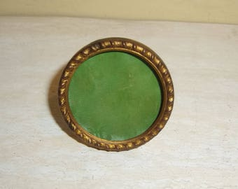 """Antique Miniature Round Picture Frame French twisted rope motif 1 and 5/8"""" gilded metal"""