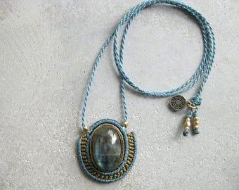 Blue Labradorite Macrame Pendant Necklace Choker . Micro Macrame Jewelry . Fiber Necklace . Modern Textile Design by .. raïz ..