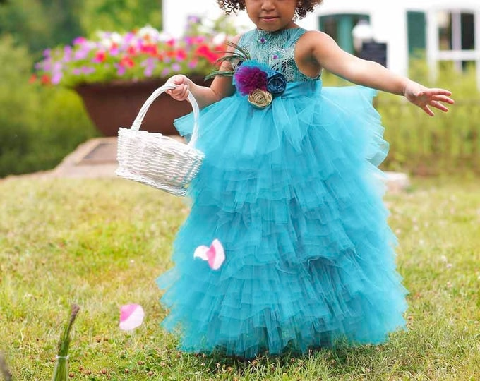 Peacock Flower Girl Dress - Peacock Wedding - Pageant Dress - Full Length Dress -Layered Dress - Tulle Dress - Toddler Dress - 2T to 8 Yrs