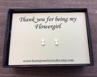 Flower Girl gift, Small Stud Earrings and Thank You Card, Junior Flower Girl earrings, childrens size, Flower Girl gift