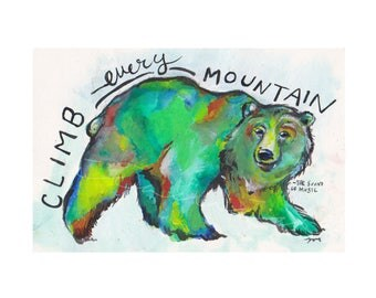 Bear painting, climb every mountain painting, colorful bear painting, watercolor bear