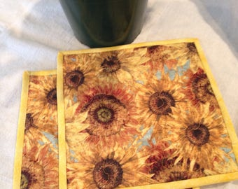 Yellow Sunflower Quilted Potholders
