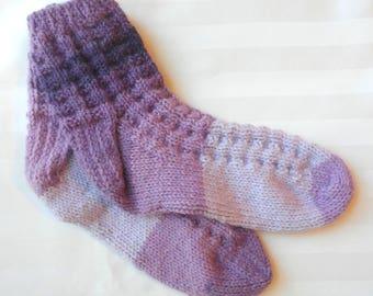 Womens Casual Knit Socks. Shades of Purple. Lavender. Medium Purple. Dark Purple. Slipper Socks. Elderly. Ready to Ship. Gifts for Her.
