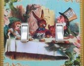 Fancy trims on Alice wall plates- MATCHING SCREWS Mad Tea Party switchplate Alice in Wonderland wall decor  We're all mad here Alice bedroom
