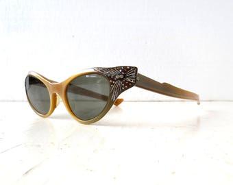 Vintage 1950s Sunglasses | Cat Eye Sunglasses | Rhinestone Sunglasses