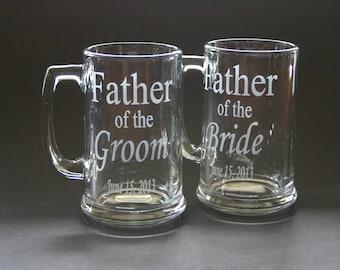 Custom Etched Beer Mug Wedding Father of the Bride Groom Bestman Groomsmen Set of 4