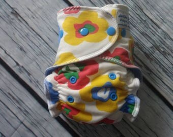Stay Dry One Size Overnight Fitted Cloth Diaper in Mod Flowers