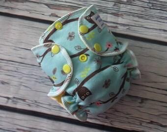 Newborn Fitted Cloth Diaper in Owls