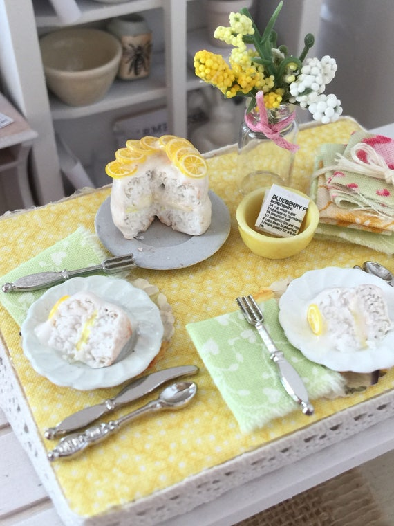 Miniature Summer Dessert Lemon Iced Cake Board- 1:12 scale Dollhouse miniature