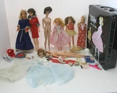 RESERVED for Liz - Lot Barbie Dolls and Friends, TNT Skipper, Francie, Vintage 60s 70s Midge Case, Accessories