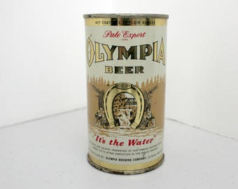 Olympia Pale Export Beer Can, 1933 12 ounce Flat Top It's The Water