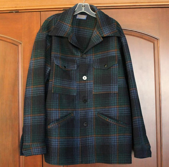 Vintage Pendleton Wool Jacket Shirt, Size XL, Blue Plaid Wool Mens Jacket