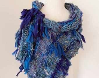 Scarf Wrap Hand Spun Hand Knit green blue merino alpaca silk sparkle mix