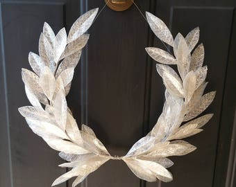 Year-round Everyday  Gilded White Crystal Laurel Bay Leaf Crest Wreath Peace Victory Wedding Olympic Holiday Christmas Faux Artificial